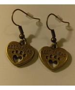 """Bronze Paw Print Heart """"Best Friend"""" Dangle Earrings - $2.59"""