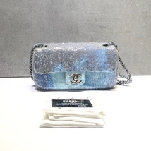 NEW AUTHENTIC CHANEL LIMITED RUNWAY BLUE SEQUIN MEDIUM  FLAP BAG RARE image 2