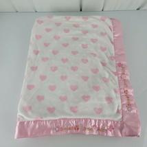 Child of Mine Sweet Little Baby Blanket Pink White Satin Heart Butterfly Flower - $69.29