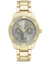 I. N.c. Herren 44mm Gold Ton Grau Ziffernblatt W Kristalle Link Armband Uhr Nib