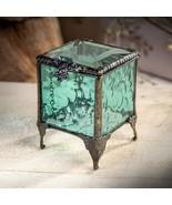 J Devlin Box 153-3 Stained Glass Trinket Box Aquamarine Blue Jewelry Rin... - $29.62