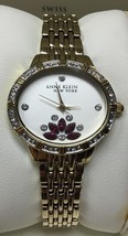 Anne Klein Womens Gold-Tone Stainless Steel Pink Crystal Oval Watch 12/2... - $59.39