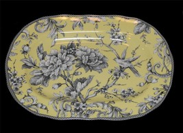 222 Fifth ADELAIDE Scalloped Oval Yellow Floral Bird Toile Platter Tray ... - $39.99