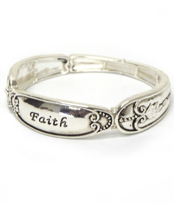 Primary image for FAITH Inspirational Spoon Design Bangle Bracelet Silver NEW