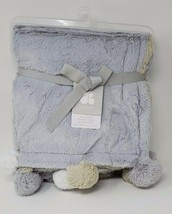 Just Born Baby Plush Blanket with PomPoms, Color: Grey - $29.99