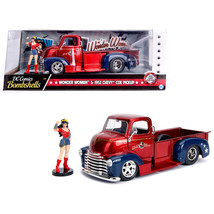 1952 Chevrolet COE Pickup Truck Red and Blue with Wonder Woman Diecast F... - $49.84
