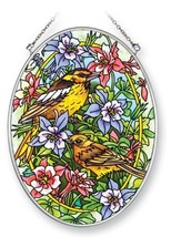 Amia 41388 Yellow Warbler and Oriole with Columbines 5-1/2 by 7-Inch Oval Sun Ca