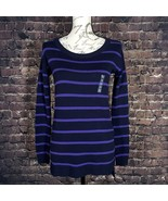 NEW Arizona Womens Purple Striped Long Sleeve Hi-Lo Tunic Sweater Size X... - $19.31