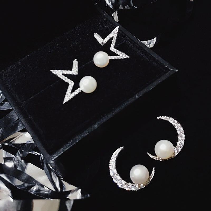 Fashion 925 Sterling Silver Stud Earrings Star Moon Rhinestones Pearl Earring Je