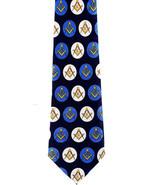 Masonic Society Circles Mens Necktie Freemason Masons Compass Blue Neck Tie - $15.79
