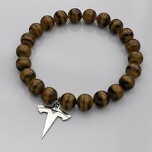 Tesla Logo Bracelet | Silver Tag, Tiger Eye & Amethyst Natural Beads - $24.00
