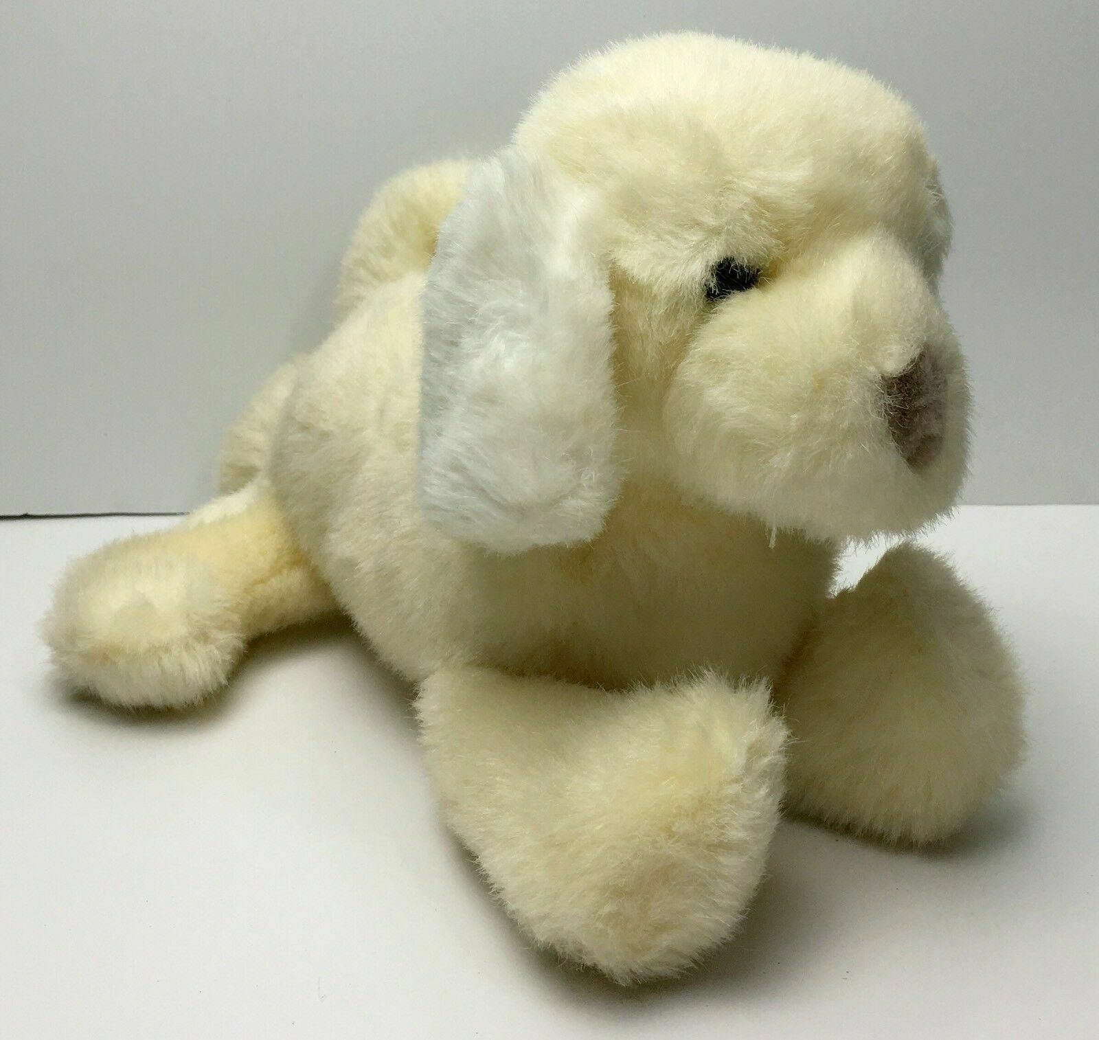 Primary image for Vintage Baby Gund Light Yellow & White Puppy Dog Plush Lovey Rattle 10""