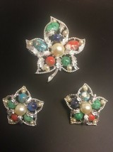 Vintage Sarah Coventry Speckled Cabochon Leaf Pin Earring Set Silvertone - $24.18