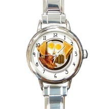 Ladies Round Italian Charm Bracelet Watch Bacon And Eggs Breakfast Food ... - $11.99