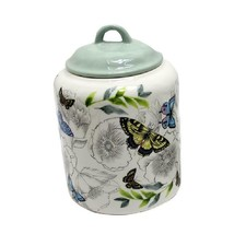"""Canister w Lid Butterfly Design Ceramic 10"""" Kitchen Matching Teapot Available"""