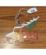 Red Truck with Christmas Metal Tree Holiday Ornament - $2.00