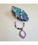 Multicolor stone necklace, Quartz pendant, Unique necklace, Artisan squa... - $38.00