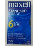 Maxell Blank VHS Video cassette Standard Grade T 120 6 Hour EP Mode - $3.99