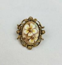 Vintage G. Harve small hand painted porcelain brooch floral ceramic  - $19.80