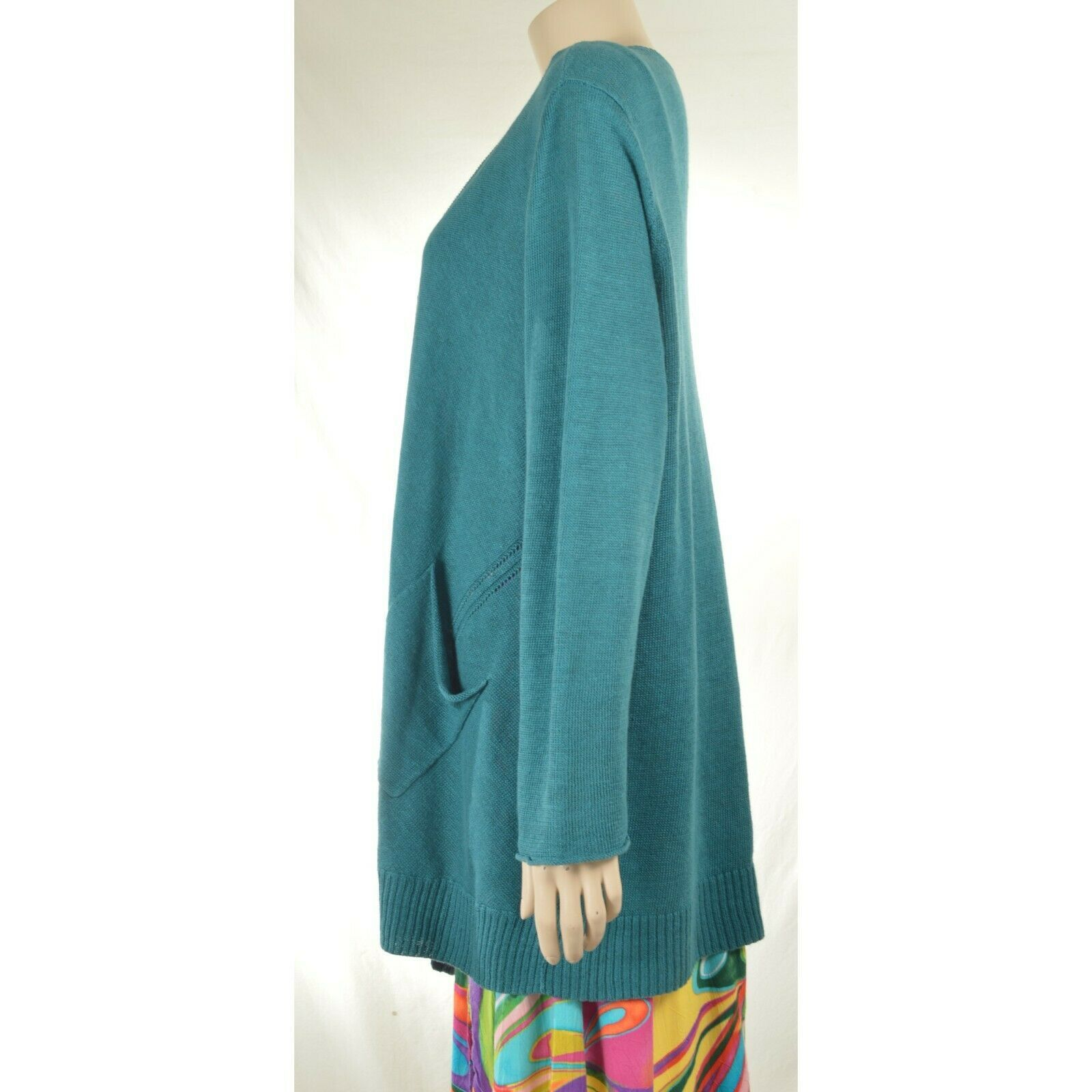 Eileen Fisher sweater cardigan SZ L teal 100% linen knit pockets soft long s image 2