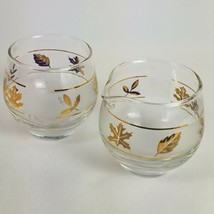 Vintage Libbey Cream and Sugar Golden Foliage Frosted Gold Leaf   Bowls Server - $13.95