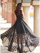 Satin Sleeveless Chiffon maxi long Striped Print Slim Elegant Casual Dress - $22.50