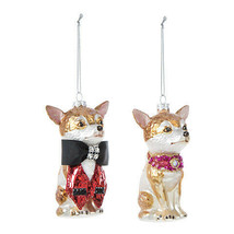 Darice Christmas Chihuahua Ornament: Glass, 2.75 x 4.5 inches, 2 Assorte... - $11.99