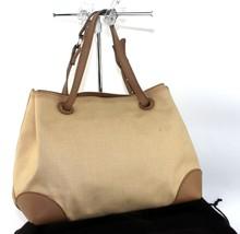 Authentic Bottega Veneta Cotton Canvas, Brown Leather  Tote PM Shoppers Handbag - $167.31