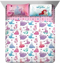Disney Frozen Princess Full Sheet Flat Fitted Pillowcase 4 Piece Sheets Set - $69.25