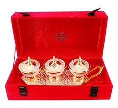 IndianArtVilla Silver Plated Gold Polished Set of 3 Designer Dry Fruit Bowls on  - $104.93