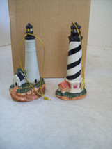 Set of Two Porcelain Lighthouse Ornaments, Key Wests & Cape Hatteras - $5.93