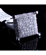 New 14K White Gold Fn Lab Diamond Square Cluster Ring Large Band - $59.99