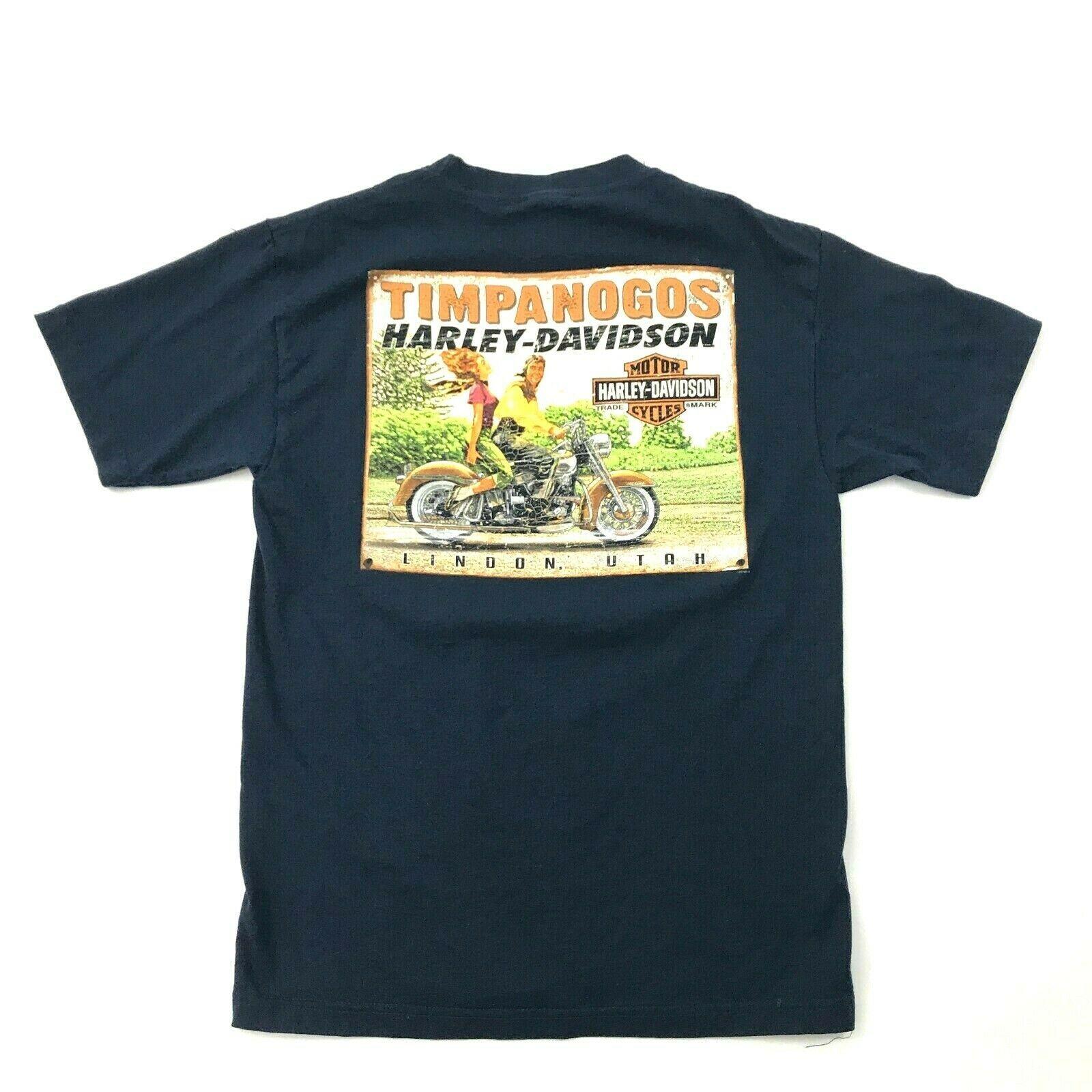 Harley Davidson Imagen Retro Camisa Dos Caras Azul Marino Motero Camiseta TALLA image 2