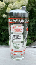 Vintage Glass Cocktail Shaker Sport Themed 28 oz 3.5 Cup Manhattan Side ... - $42.52