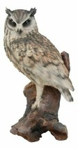 Realistic Nature Wildlife Eurasian Eagle Owl Perching On Tree Statue 14.... - $76.99