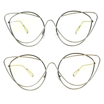 Womens Clear Lens Runway Thin Wire Rim Cateye Eyeglasses - $12.95