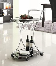 Black Tinted Glass Wine Serving Cart with Chrome Metal Accents - Free Shipping - $106.90