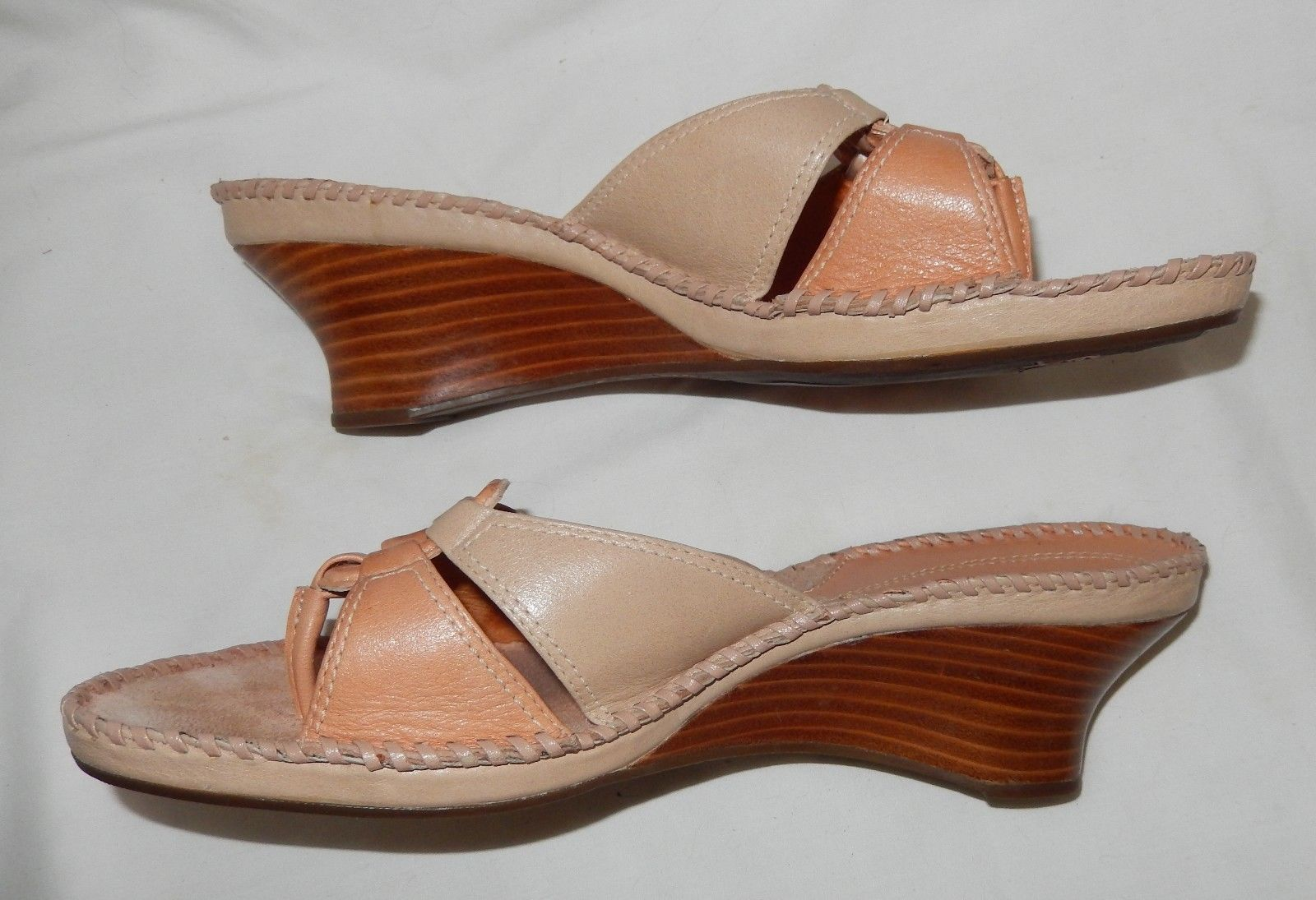 bee4dd9c8e684f Clarks Artisan Beige Natural Thong Wedge Slides Sandals Women s 9 Medium