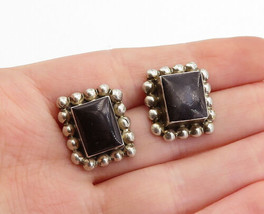 MEXICO 925 Silver  - Vintage Black Onyx Circle Border Drop Earrings - E9978 - $32.07