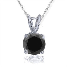 1 Carat Heat Treated Black Diamond Solitaire Pendant Necklace In White Gold - $127.47