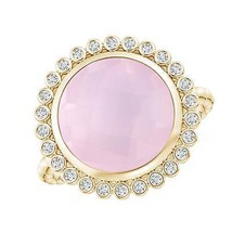 4.2ct Round Natural Rose Quartz Ring with Beaded Shank - $800.10