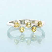Five Yellow Citrine Gemstones Handcrafted Sterling Silver Ladies Ring size 7.5 - £50.71 GBP