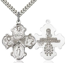 Four Way - Pewter Pendant on a 24 inch Light Rhodium Heavy Curb Chain - $30.99