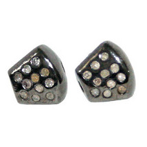 2 Pcs Lot Diamond Pave Bead Spacer Finding .925 Sterling Silver Jewelry ... - $148.35