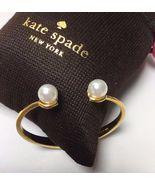 Kate Spade Dainty Sparklers Gold Tone Pearl Hinged Cuff Bracelet W/ KS D... - $38.99