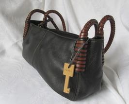 Fossil Black and Brown Handbag with Cool Handles - $44.00