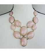 "Pale Pink & Gold Tone Statement Necklace 22"" Retro Fashion Jewelry  - $19.99"