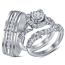 White Cz Trio Set His Her Matching Engagement Wedding Ring White Gp & Free Gift - $150.20