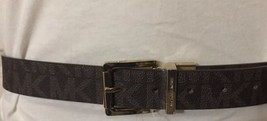 MICHAEL KORS BELT BROWN WITH MK LOGO PRINT REVERSIBLE SIDE TEXTURED GOLD - $42.99