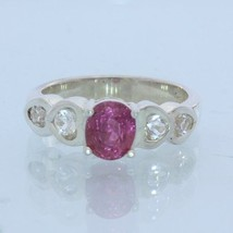 Purple Pink Spinel and White Topaz Handmade Silver Ladies Heart Ring size 6.75 - £80.46 GBP